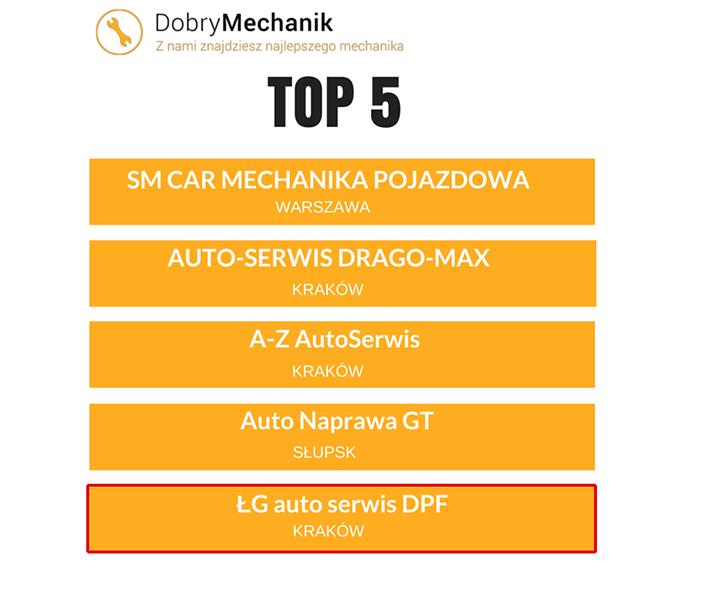 Autoserwis.co - ŁG Auto Serwis w TOP 5 najlepszych warsztatów w Polsce.